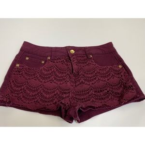 🍭Burgundy lace front jean shorts